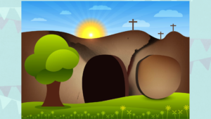 Image of the open tomb on Easter morning